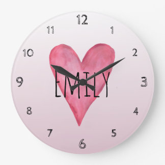 Pink Heart Typography Girl Love & Name Nursery Large Clock