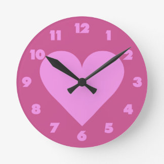 Pink Heart Valentine custom wall clocks