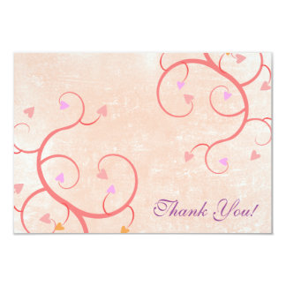 Pink Heart Vines Thank You Card