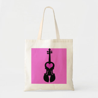 Pink Heart Violin Tote Bag