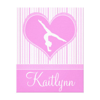 Pink Heart w/ White Stripes and Polka-Dots Gymnast Gallery Wrap Canvas