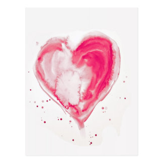 Pink Heart Watercolor Postcard