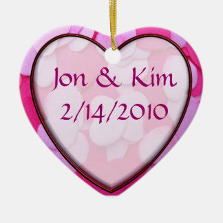 Pink Heart Wedding Favor Ornament Gift