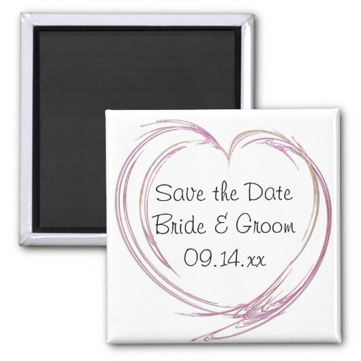 Pink Heart Wedding Save the Date Magnet