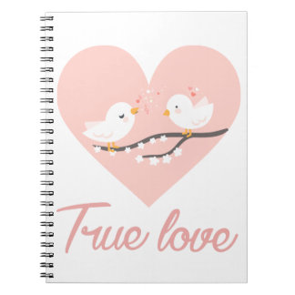 Pink Heart White Lovebirds Love - Wedding Spiral Notebook