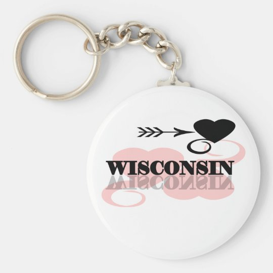 Pink Heart Wisconsin Basic Round Button Key Ring