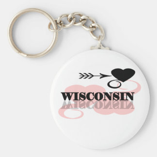 Pink Heart Wisconsin Key Ring