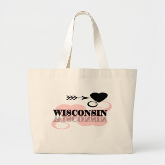 Pink Heart Wisconsin Large Tote Bag