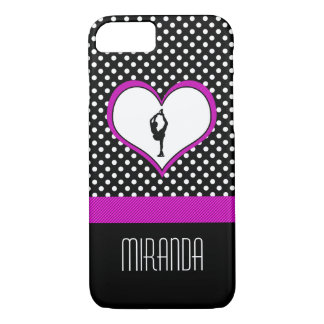 Pink Heart with Classy Polka-Dots Figure Skating iPhone 8/7 Case