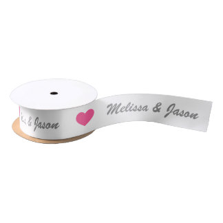 Pink Heart With Custom Wedding Couple Names Satin Ribbon