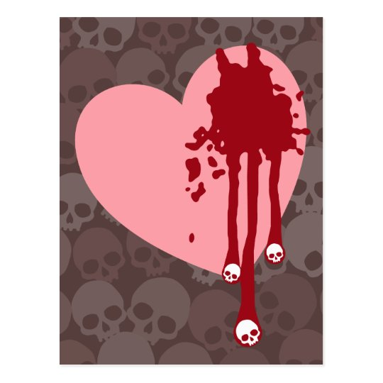 Pink Heart with Skull Drips Postcard