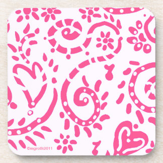 Pink hearts and flowers coaster