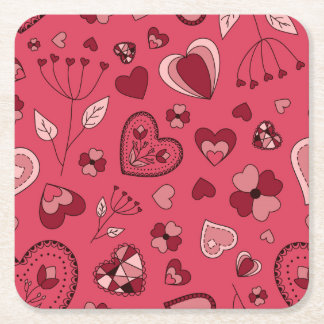 Pink hearts and flowers Custom Coasters