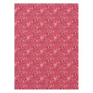 Pink hearts and flowers Custom Cotton Tablecloth