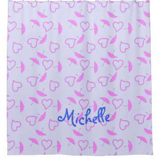 Pink Hearts and Parasols on Purple Blue Girls Name Shower Curtain