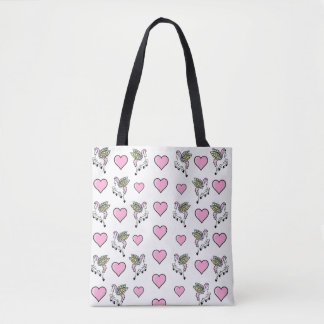 Pink Hearts and Pegasus Tote Bag