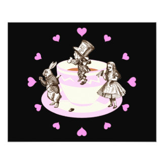 Pink Hearts Around a Mad Tea Party 11.5 Cm X 14 Cm Flyer