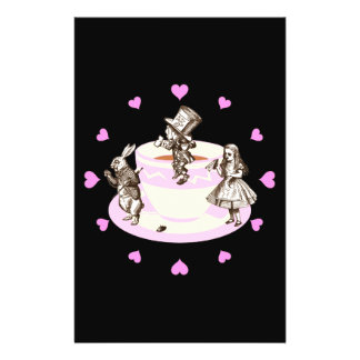 Pink Hearts Around a Mad Tea Party 14 Cm X 21.5 Cm Flyer