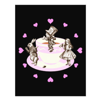 Pink Hearts Around a Mad Tea Party 21.5 Cm X 28 Cm Flyer