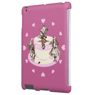 Pink Hearts around a Mad Tea Party iPad Case