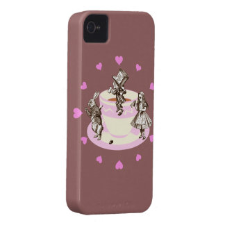 Pink Hearts Around a Mad Tea Party iPhone 4 Case