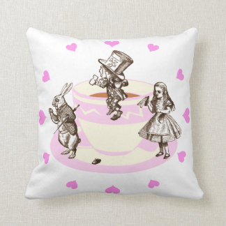 Pink Hearts Around a Mad Tea Party Throw Pillow