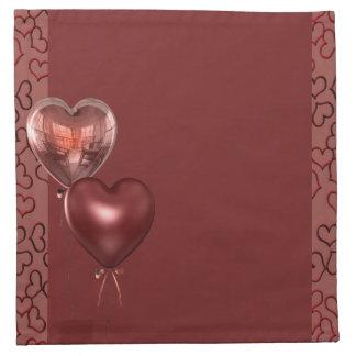 pink hearts balloons printed napkins