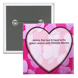 Pink Hearts Bridal Shower Name Pins Wedding