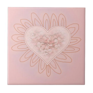 PINK HEARTS by SHARON SHARPE Small Square Tile