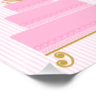 Pink Hearts Cake Poster 8 x 12  glossy