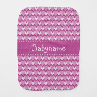 Pink Hearts custom burp cloth