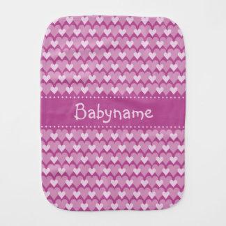 Pink Hearts custom burp cloth
