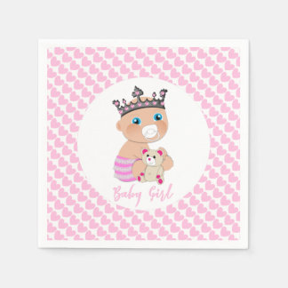 Pink Hearts Cute Baby Princess Shower Personalized Paper Napkin