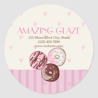 Pink Hearts Donut Shop Bakery Sticker Label CUTE