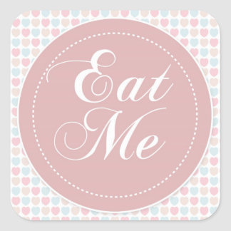 Pink Hearts 'Eat Me' Candy Buffet Sticker