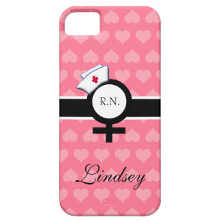 Pink Hearts+Female Sign+Nurse Cap/Name Case For The iPhone 5