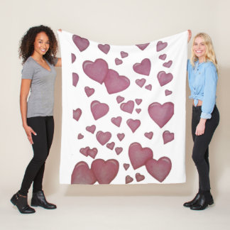 Pink hearts fleece blanket