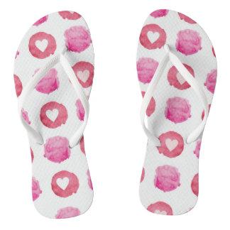 Pink Hearts Flip Flops