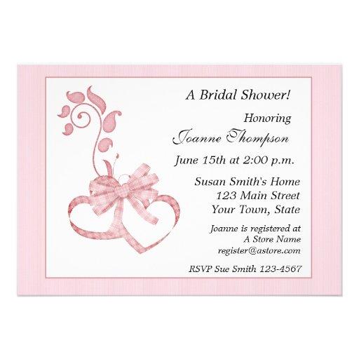 Pink Hearts Flourish Bridal Shower Invitation