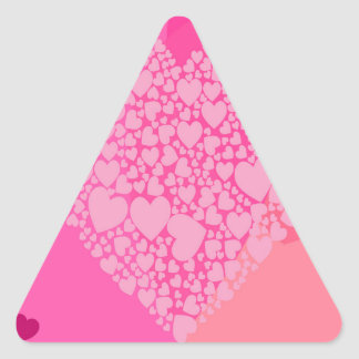 Pink Hearts for St Valentine's Triangle Sticker