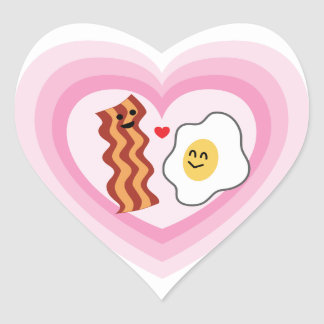 Pink Hearts for  Valentine: Bacon and Eggs in Love Heart Sticker