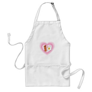 Pink Hearts for  Valentine: Bacon and Eggs in Love Standard Apron