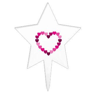 Pink hearts heart cake pick
