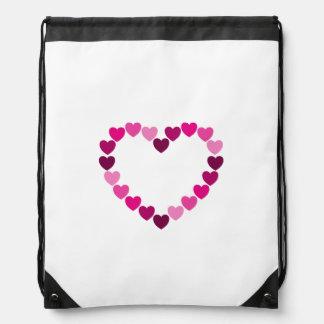 Pink hearts heart drawstring bag