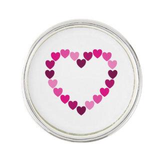 Pink hearts heart lapel pin