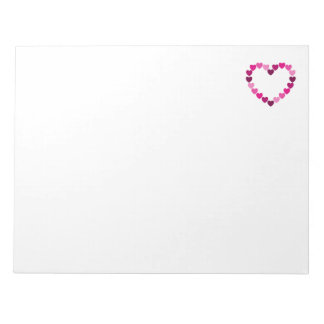 Pink hearts heart notepad