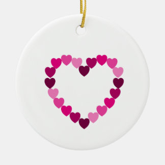 Pink hearts heart ornament