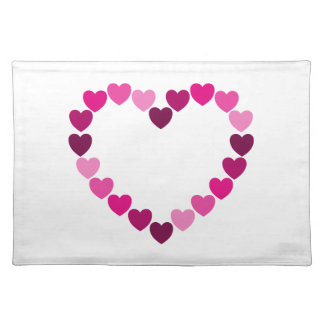 Pink hearts heart placemat
