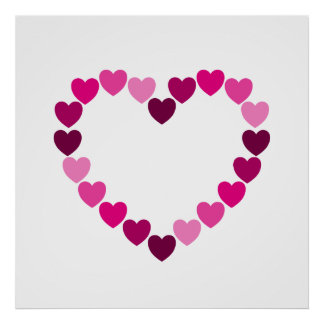 Pink hearts heart poster