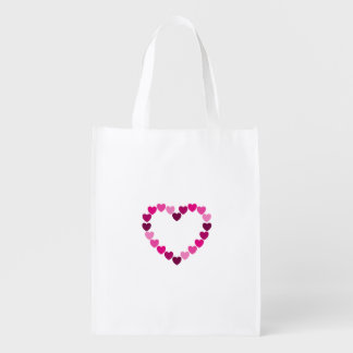 Pink hearts heart reusable grocery bag